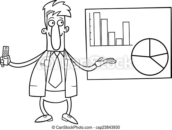 Businessman presentation coloring page. Black and white cartoon ...