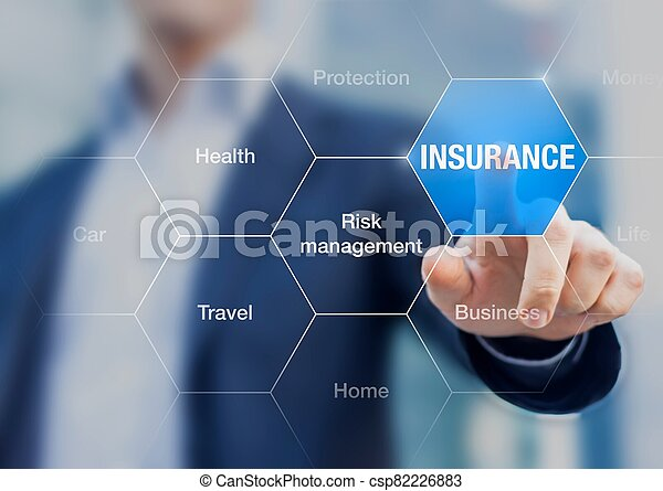 Businessman presenting the concept of Insurance - csp82226883
