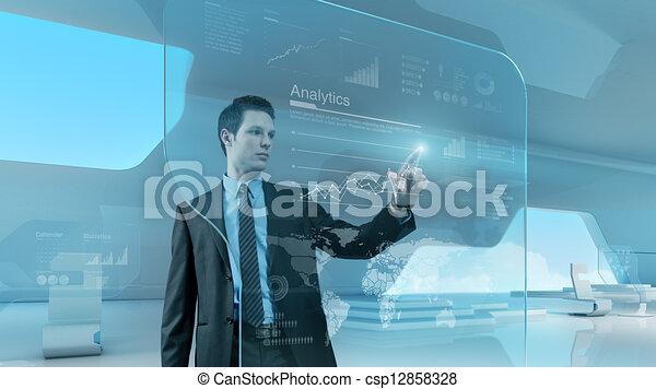 Businessman press graph future technology touchscreen interface - csp12858328