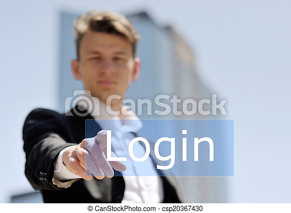 businessman press virtual login button - csp20367430