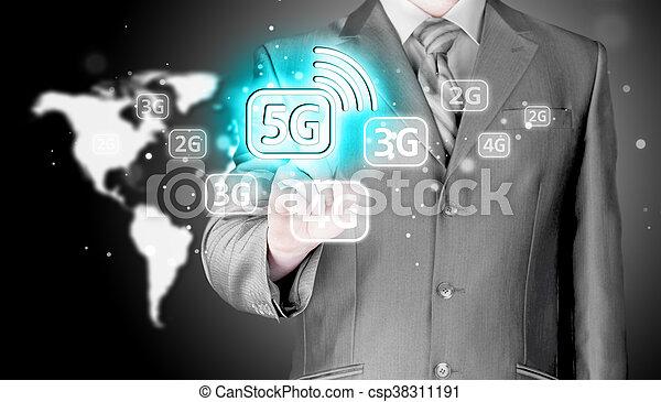 Businessman pressing data connection. - csp38311191