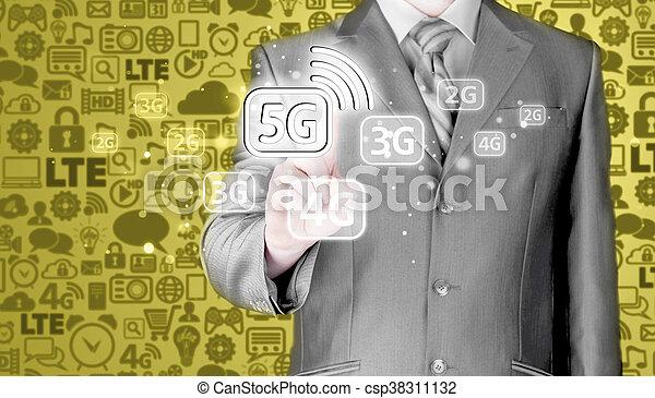 Businessman pressing data connection. - csp38311132