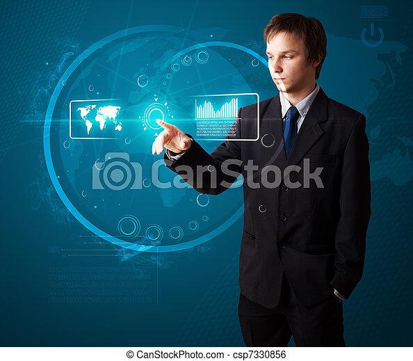 Businessman pressing high tech type of modern buttons - csp7330856