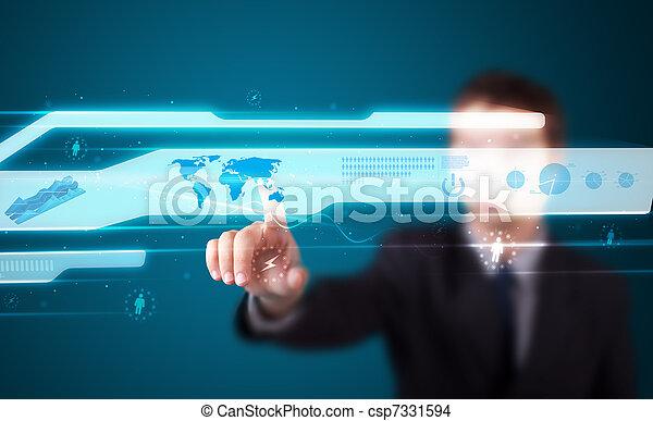 Businessman pressing high tech type of modern buttons - csp7331594