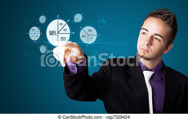 Businessman pressing modern business type of buttons - csp7329424