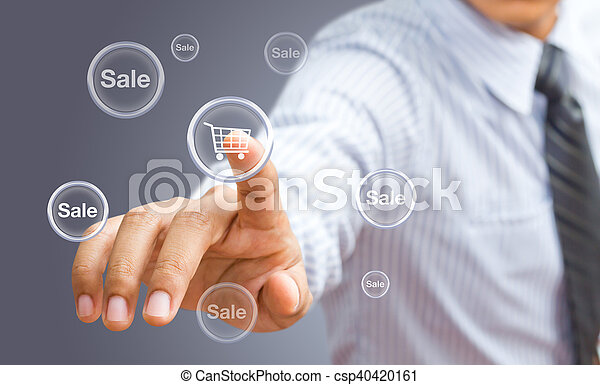 Businessman pressing promotion and shipping type of modern buttons - csp40420161