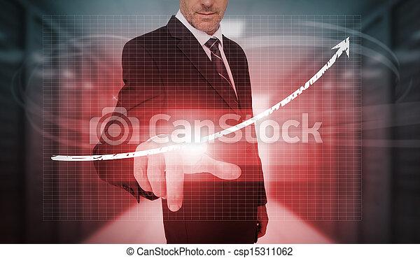 Businessman pressing red growth arr - csp15311062