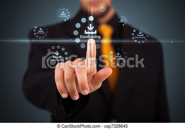 Businessman pressing simple type of start buttons - csp7328645