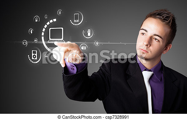 Businessman pressing virtual media type of buttons  - csp7328991