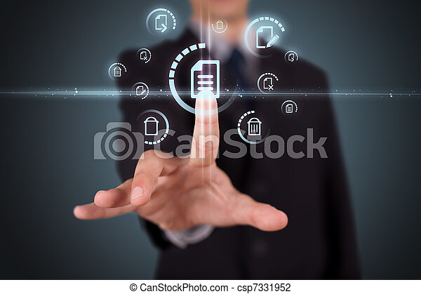 Businessman pressing virtual media type of buttons  - csp7331952