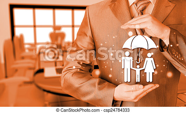businessman protecting family Insurance concept - csp24784333