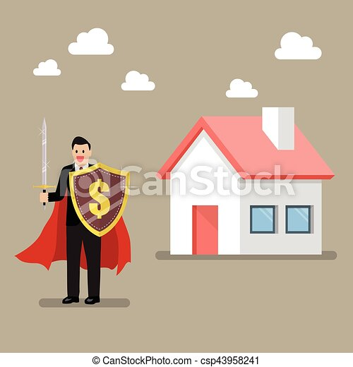 Businessman protecting house with shield and sword - csp43958241