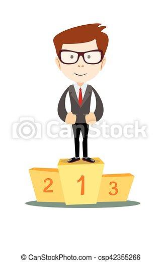 Businessman proudly standing on the winning podium - csp42355266