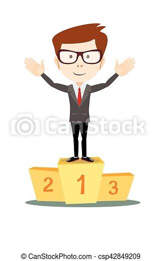 Businessman proudly standing on the winning podium - csp42849209