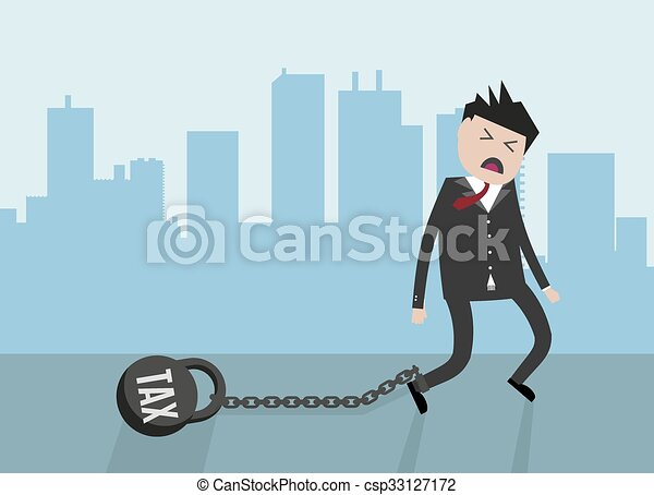 Businessman pulling a weight with - csp33127172