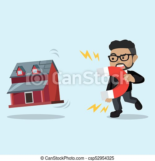businessman pulling miniature house with magnet - csp52954325