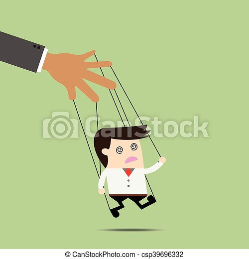 Businessman puppet on ropes. Business manipulate behind the scene concept - csp39696332