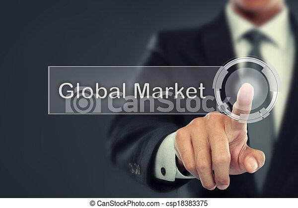 Businessman push to Global Market button on virtual screen - csp18383375