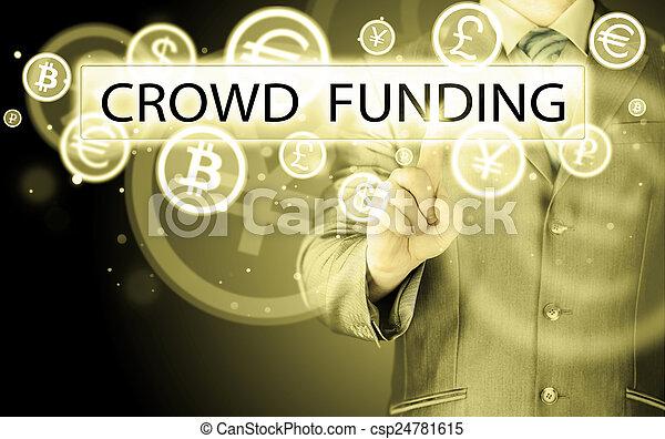 Businessman pushes virtual crowd funding button - csp24781615