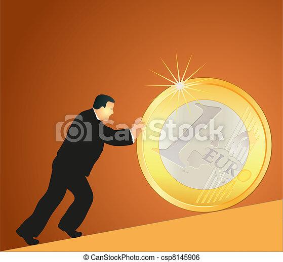 Businessman pushing big Euro coin a - csp8145906