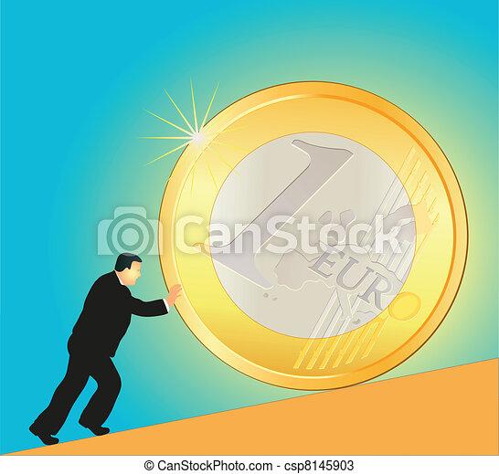 Businessman pushing big Euro coin - csp8145903