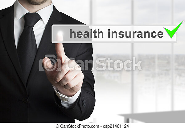 businessman pushing button health insurance - csp21461124