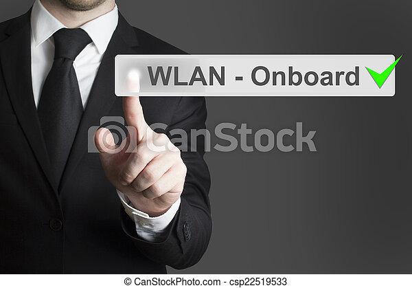 businessman pushing button wlan onboard - csp22519533