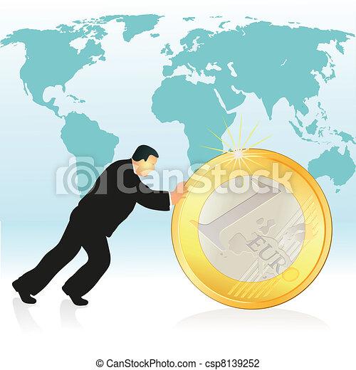 Businessman pushing Euro coin in fr - csp8139252
