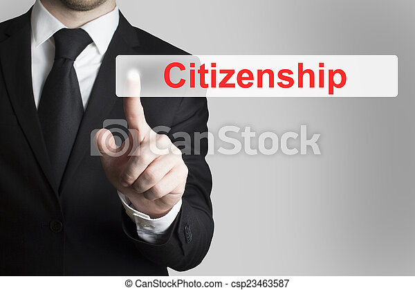 businessman pushing flat button citizenship - csp23463587