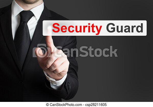 businessman pushing flat button security guard - csp28211605
