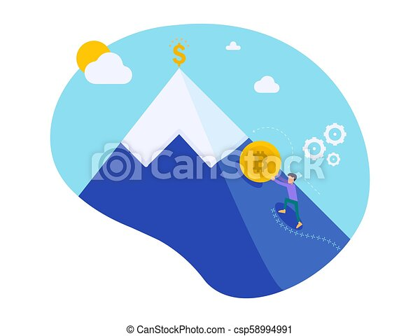 Businessman pushing golden bitcoin climbing the hill with sky background. Growth of the crypto currency. Mining electronic money. Sisyphean labor little man pushes coin. Vector illustration character. - csp58994991
