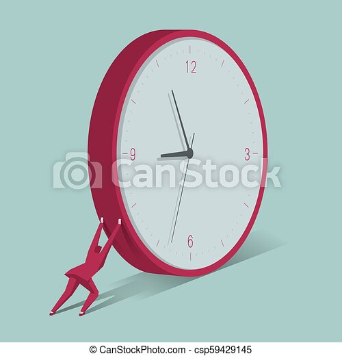 Businessman pushing huge clock. The background is blue. - csp59429145