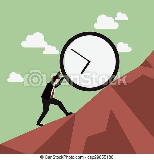 Businessman pushing huge clock uphill - csp29655186