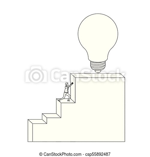 Businessman Pushing Stair Block Structure With Light Bulb In The Top  Monochrome Silhouette Dotted   Csp55892487