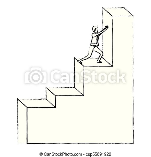 Businessman Pushing Stair Block Structure With Light Bulb In The Top  Silhouette Blurred Monochrome   Csp55891922