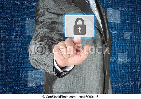 Businessman pushing virtual security button   - csp16090145