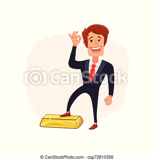 Businessman puts his foot on a bar of gold. A symbol of successful trading in a growing market. Bull market. Vector. - csp72810356