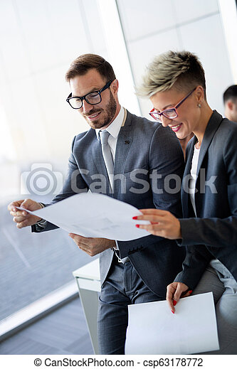 Businessman putting forward his suggestions to colleagues. Startup business team on meeting - csp63178772