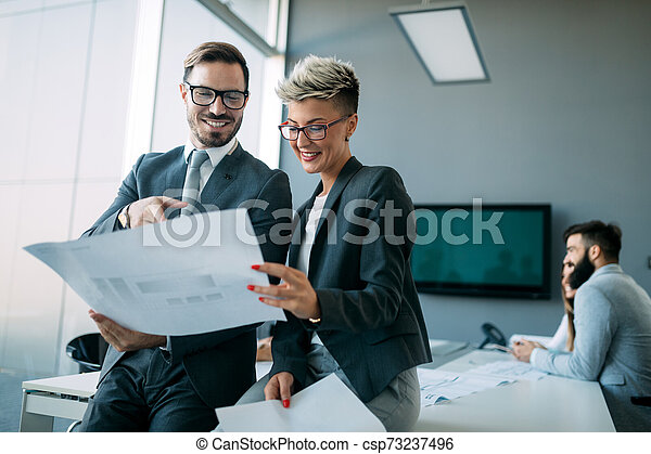 Businessman putting forward his suggestions to colleagues. Startup business team on meeting - csp73237496