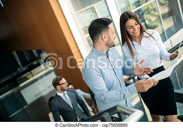 Businessman putting forward his suggestions to colleagues. Startup business team on meeting - csp75656890