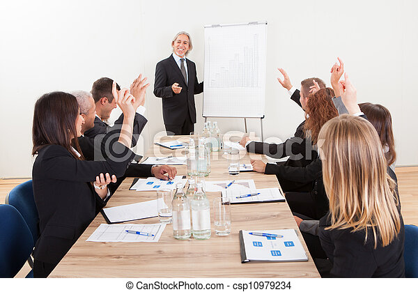 Businessman Raising His Hand - csp10979234