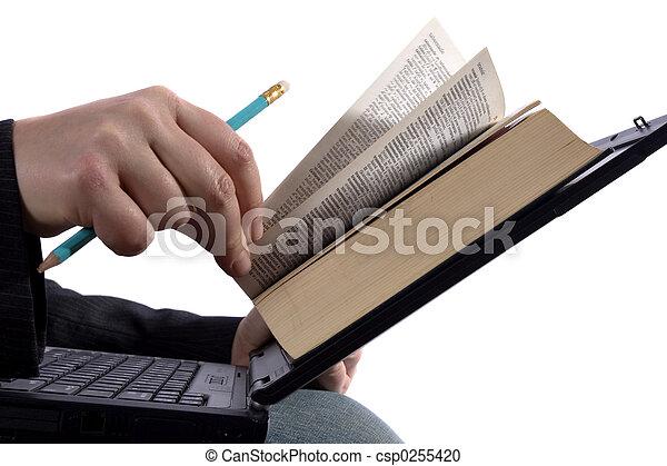 Businessman reading an e-book - csp0255420