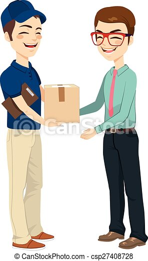 Businessman Receiving Mail Package - csp27408728