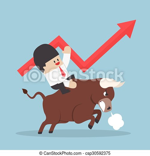 Businessman riding on bull - csp30592375