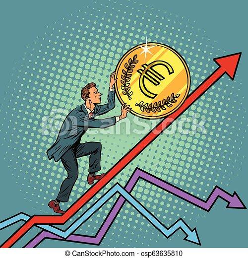 businessman roll a euro coin up - csp63635810