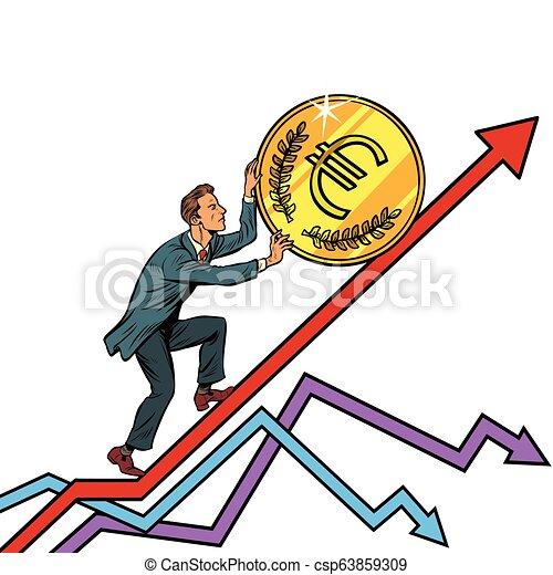 businessman roll a euro coin up - csp63859309