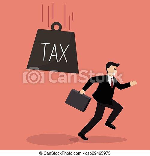 Businessman run away from heavy tax - csp29465975