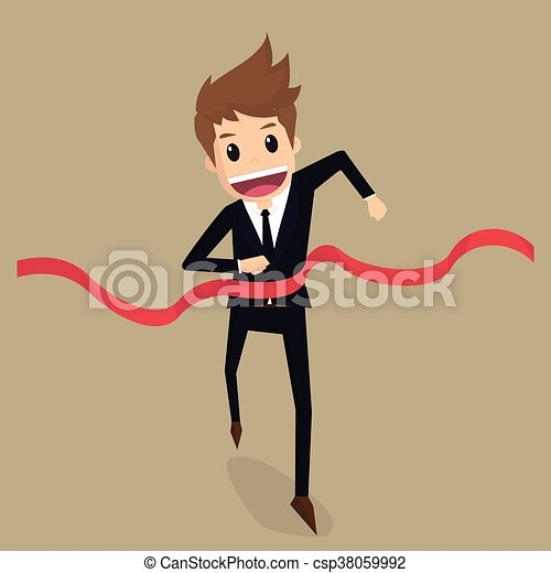 Businessman run to the finish line - csp38059992