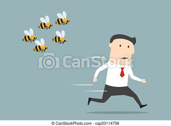 Businessman running away from angry bees - csp33114706
