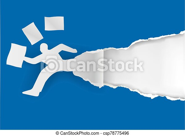 Businessman running in a hurry with papers. - csp78775496